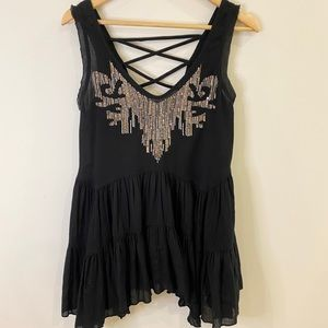 Free People Black Embellished Trapeze Top Small